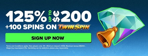 125% exclusive bonus and 100 free spins on new slots