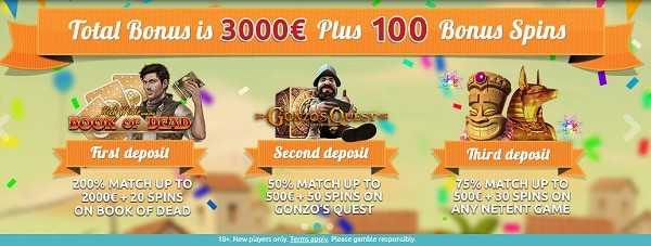 Welcome Bonus: 3000 EUR and 100 Free Spins