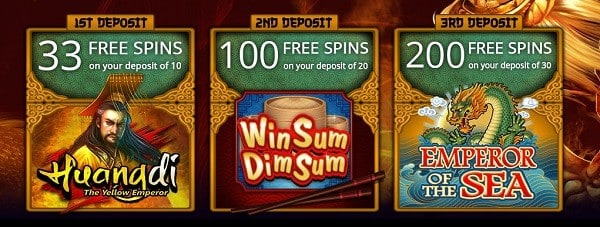 333 free spins on Huangdi, Win Sum Dim Sum, Emperor of the Sea