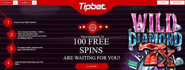 100 free spins on Wild Diamond 7X