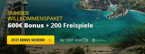 Dunder Casino 20 free spins no deposit bonus