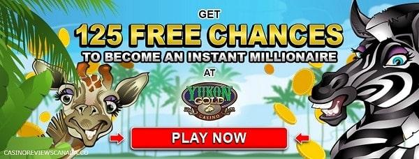 Yukon Gold Casino 125 free spins bonus on first deposit!
