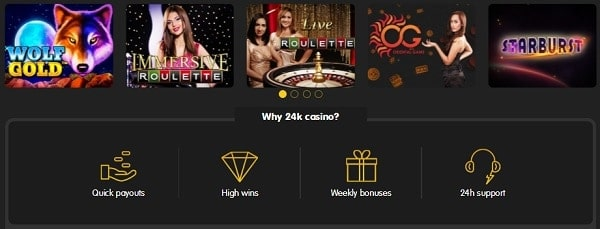 24KCasino lobby and game section