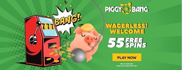 Piggy Bang Casino wagerless welcome free spins bonus