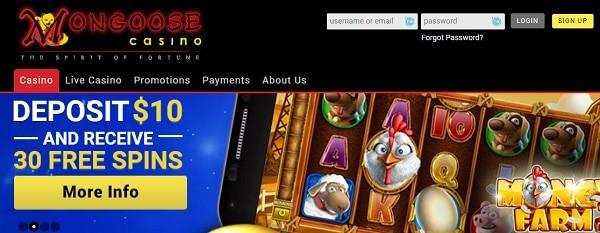 Mongoose Casino free spins no deposit bonus