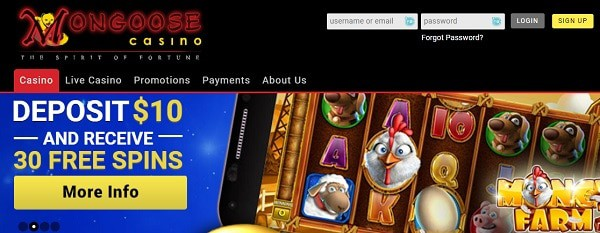 Mongoose 30 free spins