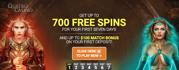 Quatro Casino 700 free spins and 100 EUR bonus