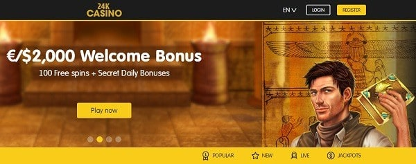 24K welcome bonus and free spins