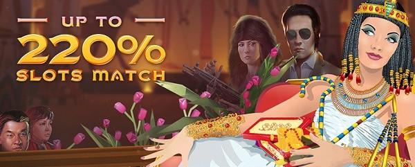 220% bonus on slots at Exclusive Casino