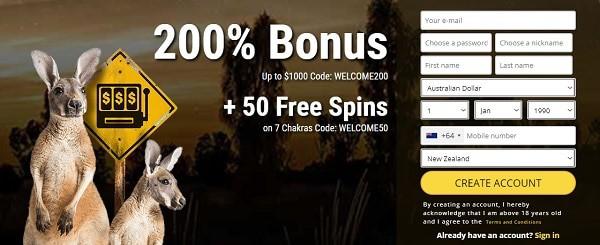 GrandRush.com 200% welcome bonus and 50 free spins on 7 Chakras pokie