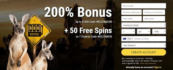 200% bonus and 50 free spins bonus