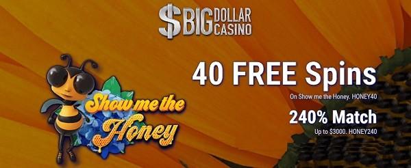 40 free spins and 240% match bonus