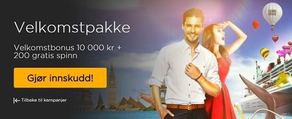 CasinoCruise.com 200 gratis spinn ug 10.000 velkomstbonus