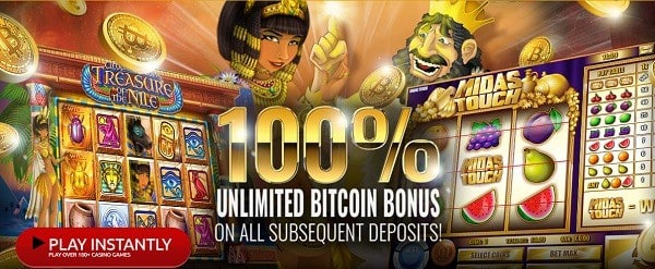 100% match bonus and 555 free spins