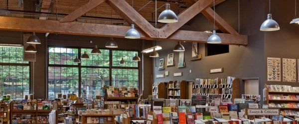 Elliott bay books has timbered ceilings, big windows and a very large selection of books.