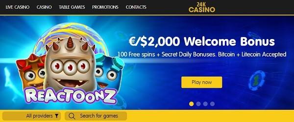 24kCasino.com bitcoin free bonus