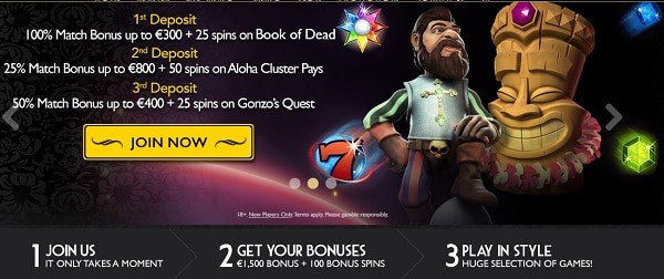 100% bonus and 20 free spins on 1st deposit