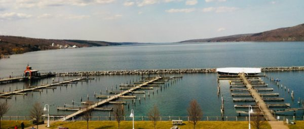 A view of the marina on Seneca Lake from the Harbor Hotel.