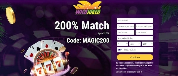 200% bonus and $25 free chip at WildJoker.com