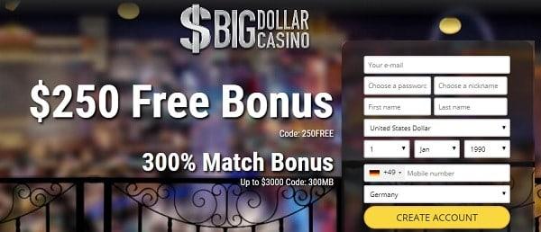 $250 free bonus (no deposit required) USA Casino free chip