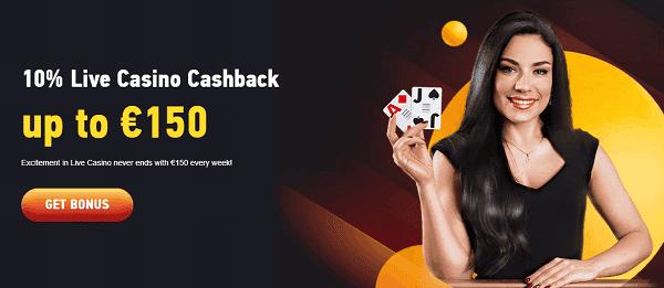 Live Casino Cashback 15%