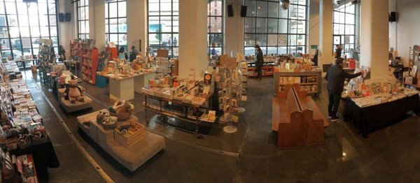 Powerhouse arena is an airy and cool bookstore beneath the manhattn bridge in brooklyn.