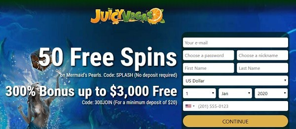 50 Free Spins and 300% welcome bonus