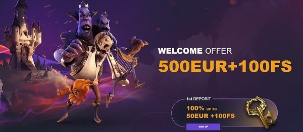 100 Free Spins and 500 EUR Welcome Bonus