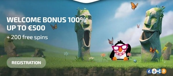 100% bonus + 200 free spins for new players