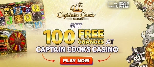 Captain Cooks Casino 100 free spins jackpot slots