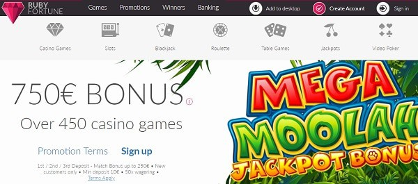 Get your free spins on 1st deposit and play MEGA MOOLAH at our cost!
