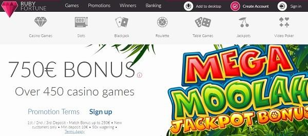 Get 750 EUR/USD free bonus on Mega Moolah and other slots!