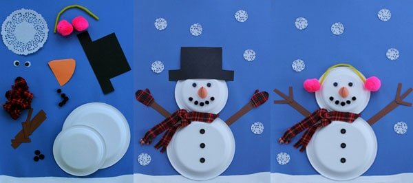Paper plate snowmen with 2 plates
