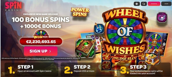 Wheel of Wishes free spins, no deposit bonus