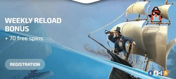 50% reload bonus and 70 free spins