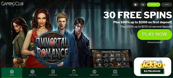 30 free spins on Immortal Romance (Microgaming) Exclusive Bonus