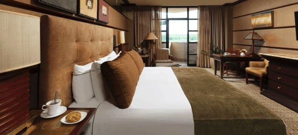 Rooms at falling rock are frank lloyd wright inspired with their earthy colors and geometric patterns.