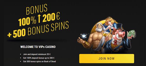 100% bonus and 500 free spins