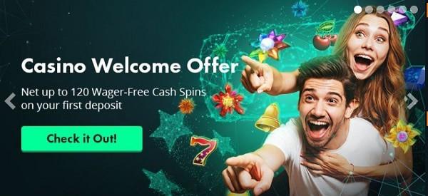 Volt Casino welcome bonus - 120 cash spins
