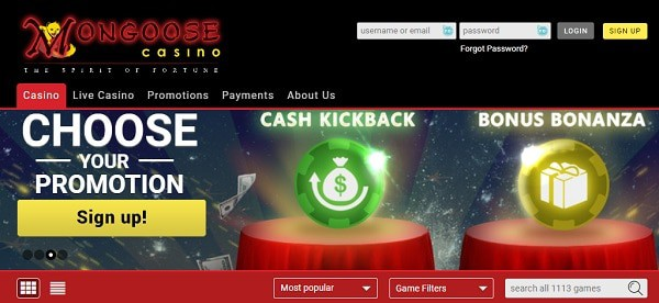 Mongoose Casino promotion
