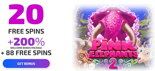 20 gratis spins on Pink Elephants slot