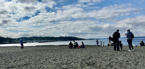 The wide beach on elliott bay at golden gardens park in seattle.