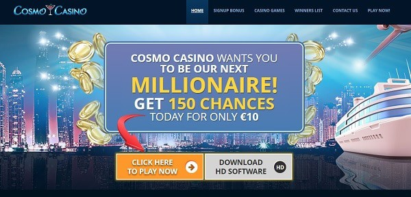 Cosmo Casino 150 free chances on Mega Moolah