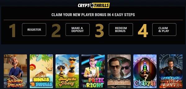 Crytpo Thrills 50 free spins bonus code