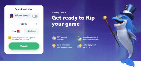 Register to TrueFlip.io and get free spins!