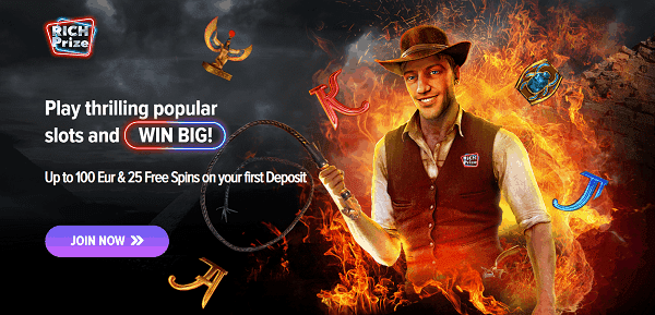 100% welcome bonus (up to 100 EUR) and 25 free spins on first deposit
