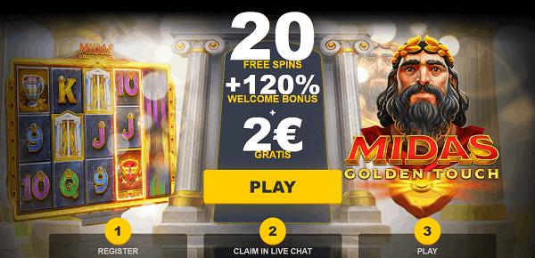 20 Free Spins + 2 EUR gratis + 100% Welcome Bonus