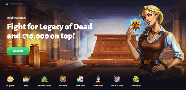 Win big on Legacy of Dead slot!