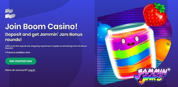 Boom welcome bonus and free spins on Jammin Jars