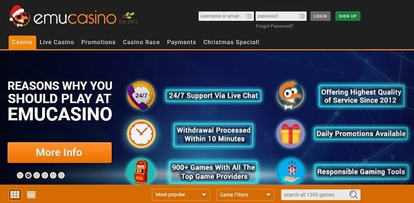 Register and log into Emu Online Casino website